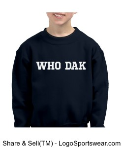 WHO DAK 7.75 ounce Youth Crew Neck Sweatshirt Design Zoom